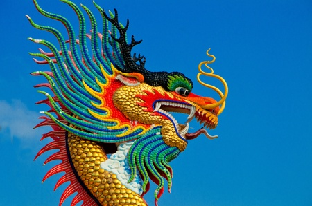 Beautiful dragon with blue sky in thailand photo