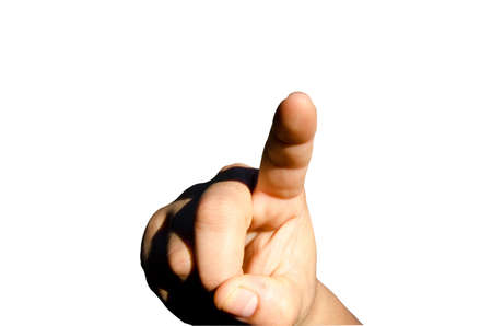 Female index finger pointing up  Isolated on a white background