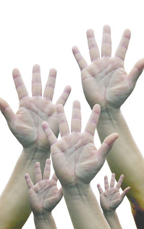 concur: Hand five fingers white background.