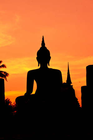 Silhouette buddha image at Wat Mahathat Sukhothai Thailand  Stock Photo