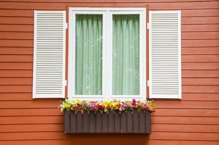 Window with flower pot Stock Photo
