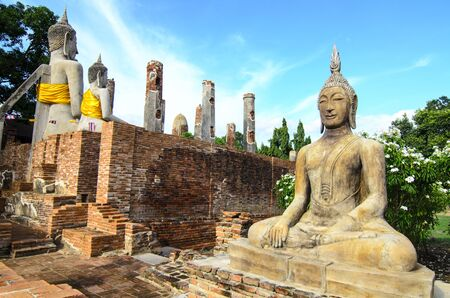 Old buddha statue in Thailand Stock Photo