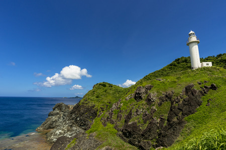 Ishigaki-jima lighthouse and beautiful sea 写真素材