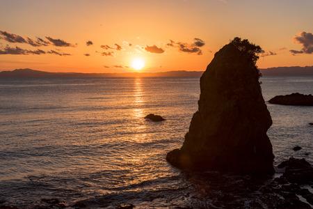Sunset over the Sagami Bay off the coast of the Miura peninsula tateishi