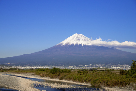 Shinkansen bullet train and Mount Fuji Editorial