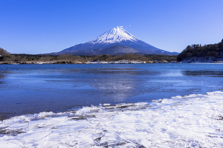 Mount Fuji from Lake Shoji-Ko Stock Photo