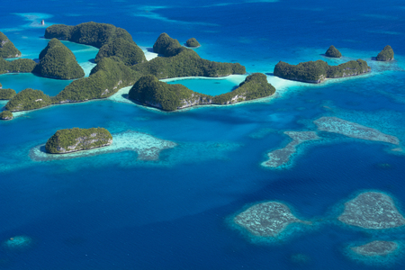 Sea of the coral reefs of Palau-aerial view