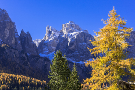 Beautiful autumn view of the Dolomites
