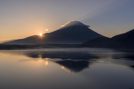 Sunrise view of Mt. Fuji from Lake motosu