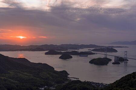 Sunset in the kurushima strait Stok Fotoğraf - 148957733