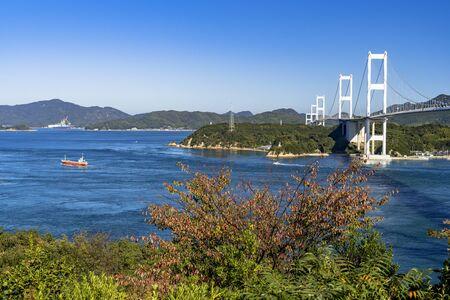 Shimanami Kaido Kurushima Strait Bridge and The Seto Inland Sea Stok Fotoğraf - 148957765