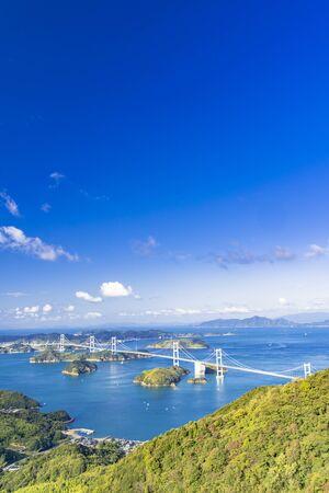 Simanami Kaido, kurushima strait Bridge and Islands of Setouchi 写真素材