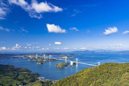imanami Kaido, kurushima strait Bridge and Islands of Setouchi Фото со стока