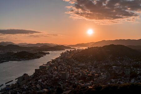 Onomichi Water Works and Onomichi Streets in the Sunset From Jodo-ji Temple