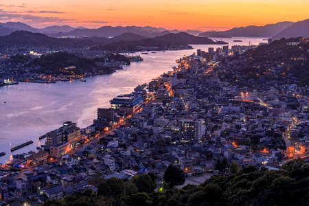 Night view of onomichi water works and onomichi streets from Jodo-ji Temple Stok Fotoğraf - 148826907