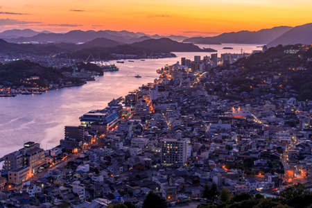 Night view of onomichi water works and onomichi streets from Jodo-ji Temple Stok Fotoğraf - 148826908