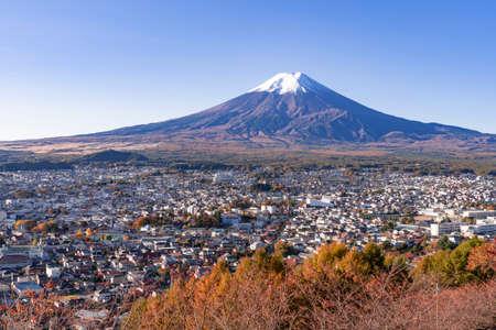 Fujiyoshida City and Mt. Fuji in Autumn