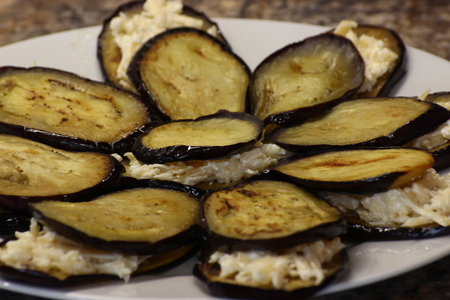 fried eggplant with sunflower oil. thinly sliced and toasted, with Golden crust.laid out on a plate for stuffing. fast and delicious food. stuffed eggplant cheese, mayonnaise and garlic. arranged in layers Imagens