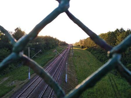 railway in woods. view from iron mesh. spying on a passing train. natural greenery outside the city, village life in the summer. lush green grass and the leaves of all plants