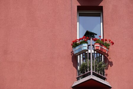 small triangular balcony in house with a coral facade and potted flowers on the fence. a place to rest your soul 写真素材