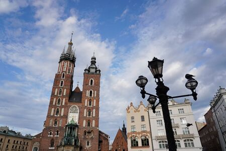 the old town of Blair, view from below. market square in Krakow. cobblestones and old houses, romantic walks. copy space
