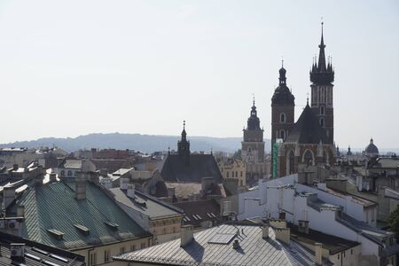 view from the terrace on the roofs of the city and old buildings. top city view. historic center with old buildings, fortress towers and walls made of brick, cozy narrow streets, cathedral bell towers