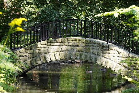 stone bridge with iron fence in a forest Park across the river with ducks on a Sunny day, the shadow of trees on the water and bricks