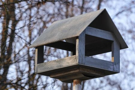 wooden bird feeder in the Park, made in form of a house, in the background autumn forest and trees. feeding birds in winter Stock Photo