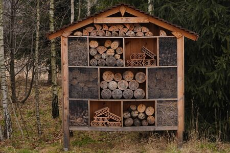 a house for bees and insects made of different natural materials. Insect hotel or Shelter, empty bug hotel close up view. provide insects with nesting facilities.