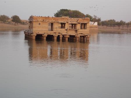 thar: A BEAUTIFUL TEMPLE INSIDE OF THE GADISAR LAKE OF JAISALMER RAJASTHAN INDIA