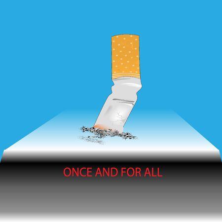 Anti-smoking . cigarette butt