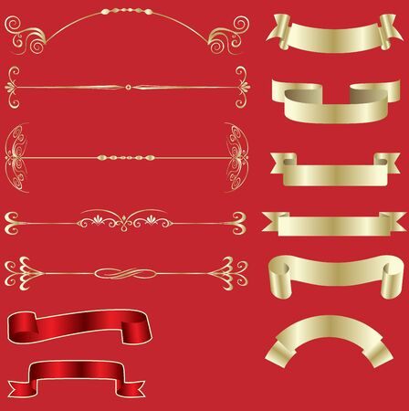 Golden ribbons and design elements Vector