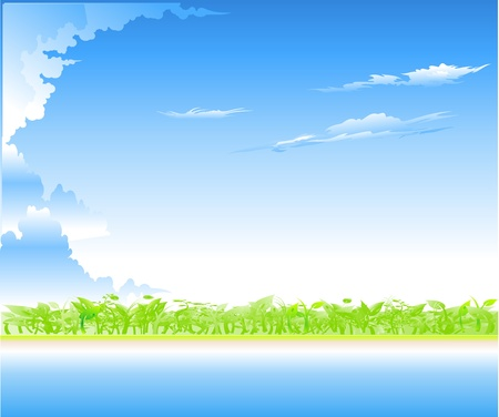 The sky in clouds and a green Stock Vector - 9719415