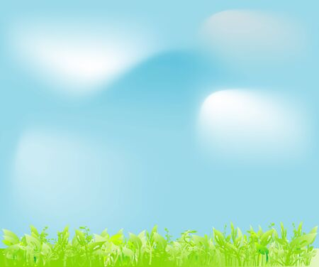 The sky in clouds and a green Illustration