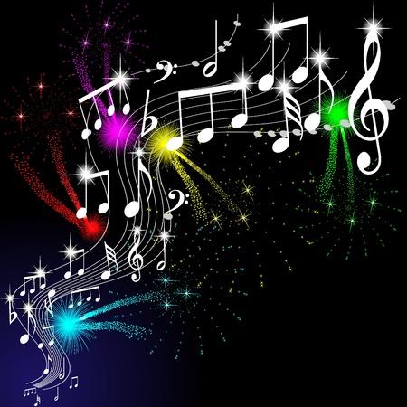 popular music concert: note musicali, vector
