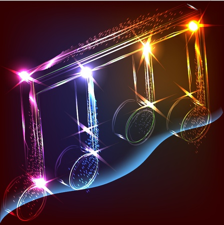 neon colorful music note Stock Vector - 10089585