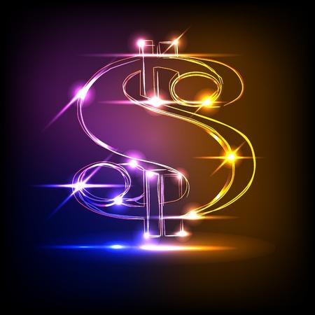 neon party: neon dollaro Vettoriali