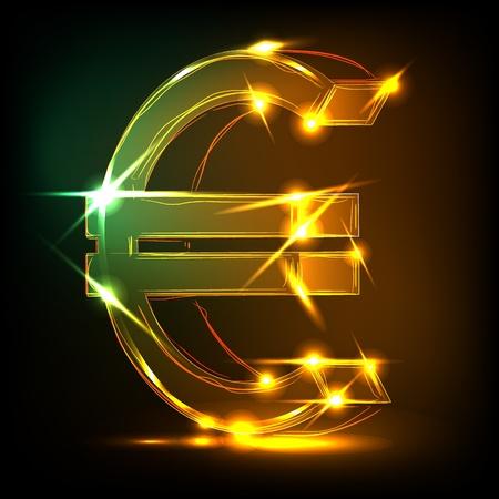 pound symbol: neon euro