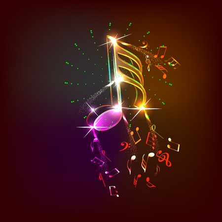 notes music: neon music notes Illustration