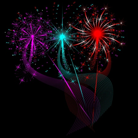 Set of fireworks in different colors and shapes Illustration
