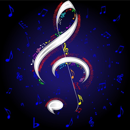 funky music: vector firework musical notes Illustration