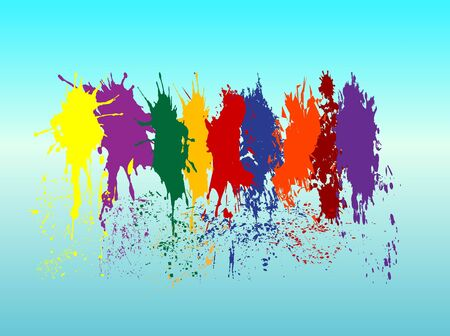paint drip: Color paint splashes Illustration