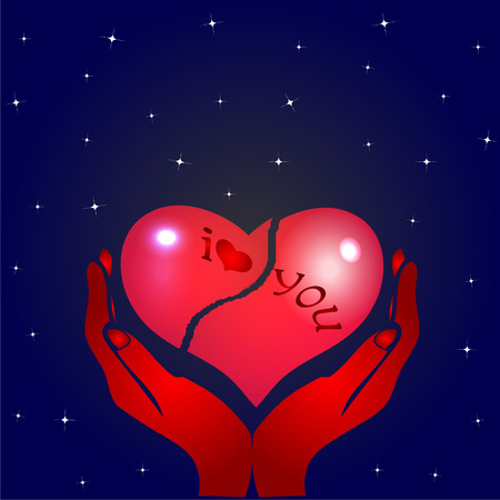 broken heart and hands Illustration