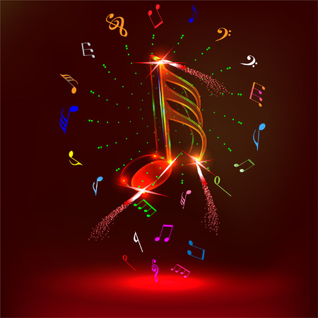neon music notes Illustration