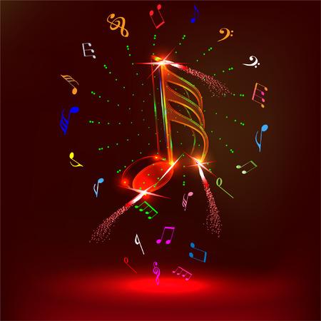 neon music notes Illustration