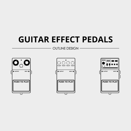 Guitar Effects Pedals - Lineart Vector Pack 写真素材 - 110619551