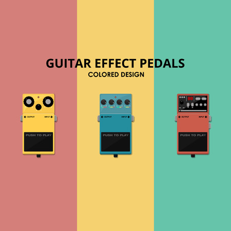 Guitar Effects Pedals - Colored Design Vector Pack Иллюстрация
