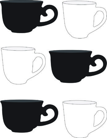 instant coffee: coffee cups Illustration