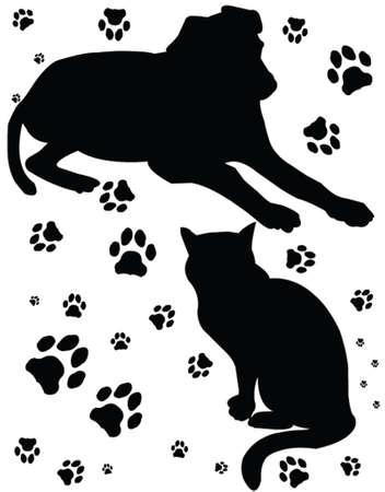 chien et chat, vecteur