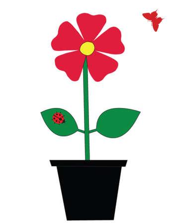 flower,ladybug,butterfly vector Illustration